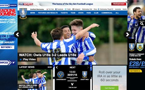 Screenshot of Home Page swfc.co.uk - Official Website of the Owls - Sheffield Wednesday FC latest news, photos and videos - captured Jan. 27, 2016