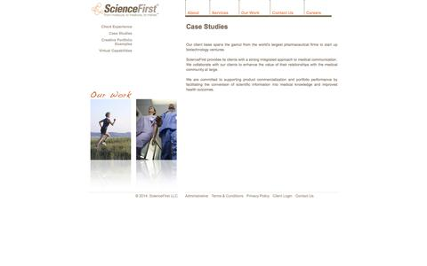 Screenshot of Case Studies Page science-first.com - Case Studies - captured Oct. 4, 2014