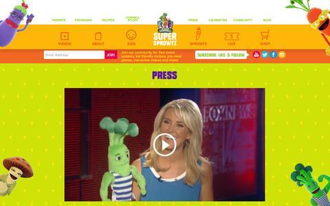 Screenshot of Press Page supersprowtz.com - Super-Powered Press! │ Super Sprowtz - captured Sept. 18, 2014