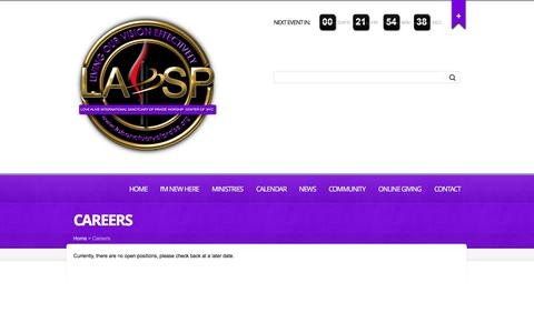 Screenshot of Jobs Page laisanctuaryofpraise.org - Careers - LAI Sanctuary of Praise - captured Dec. 5, 2015