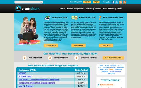 Screenshot of Home Page cramshark.com - Programming Homework Help & Online Tutoring   CramShark - captured July 22, 2018