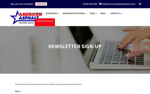 Screenshot of Signup Page americanasphaltcompany.com - Newsletter Sign-Up - American Asphalt Company - captured July 29, 2018