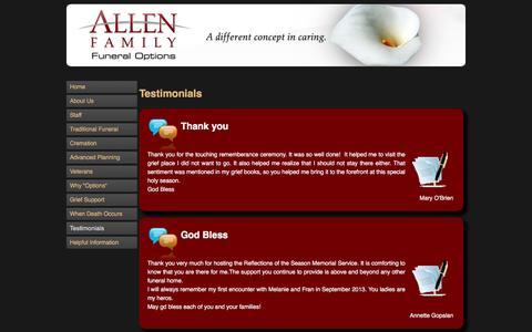 Screenshot of Testimonials Page affoplano.com - Allen Funeral Options - View our Testimonials | Allen Family Funeral Options - captured Feb. 5, 2016
