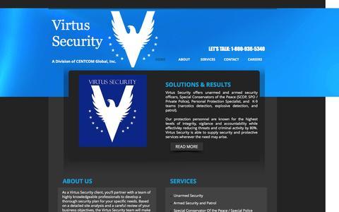 Screenshot of Home Page virtussecurity.net - Virtus Security - captured Jan. 11, 2016