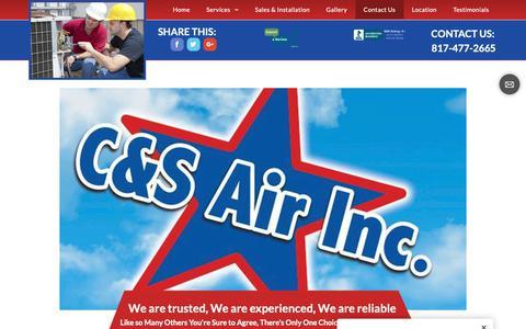 Screenshot of Contact Page candsair.com - Contact - captured Dec. 13, 2018