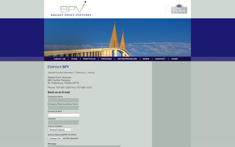 Screenshot of Contact Page ballastpointventures.com - Ballast Point Ventures | Growth Capital for the Southeast | - captured Sept. 30, 2014