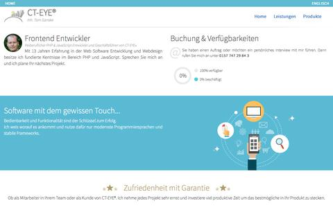 Screenshot of Home Page ct-eye.de - Frontend Entwickler für PHP und JavaScript aus Hamburg :: Tom Ganske :: CT-EYE® - Frontend Entwickler & Webdesign Hamburg :: PHP und JavaScript - captured June 20, 2015