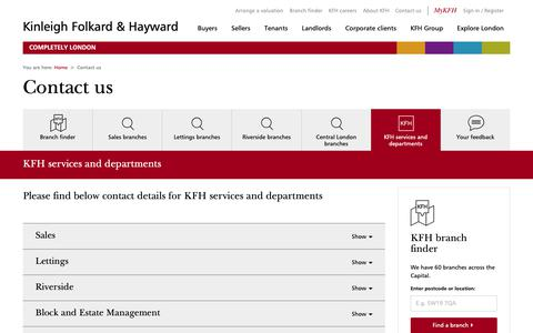 Screenshot of Contact Page kfh.co.uk - Contact KFH services and departments - captured Oct. 18, 2018