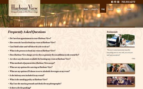 Screenshot of FAQ Page harbourviewevents.com - Frequently Asked Questions | Harbour View - captured Oct. 2, 2014
