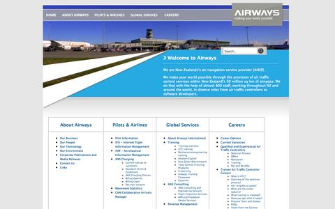 Screenshot of Site Map Page airways.co.nz - Welcome to Airways - site map - captured Oct. 4, 2014
