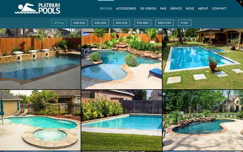 Screenshot of Pricing Page platinumpools.com - Swimming Pool Prices - Affordable Pools Houston $40k-$100k | Platinum Pools - captured May 19, 2017
