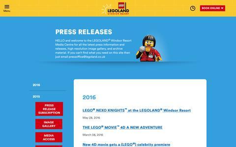 Screenshot of Press Page legoland.co.uk - LEGOLAND Windsor Resort Press Information - captured July 3, 2016
