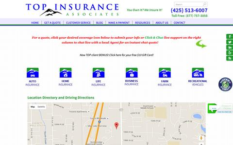 Screenshot of Locations Page topinsuranceassociates.com - TOP Insurance Associates Locations and Driving Directions - captured Feb. 16, 2016