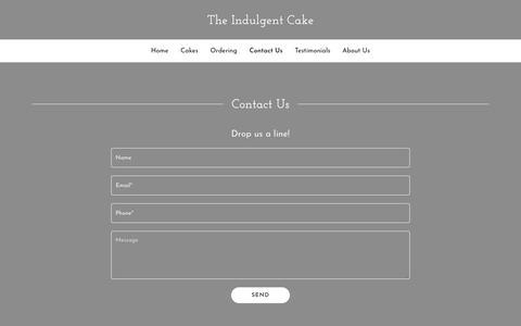 Screenshot of Contact Page theindulgentcake.com - Contact Us | The Indulgent Cake - captured Sept. 21, 2018