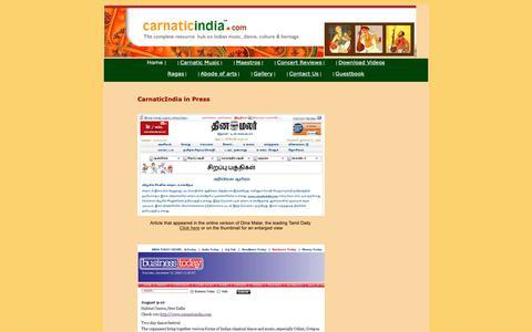 Screenshot of Press Page carnaticindia.com - CARNATIC MUSIC :: CarnaticIndia.com in Press - captured Sept. 30, 2018