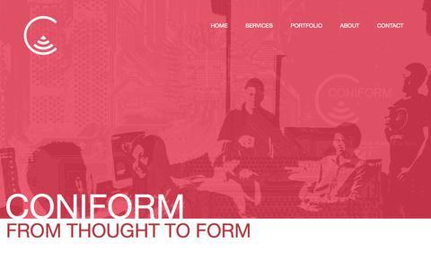 Screenshot of Home Page coniform.com - Coniform | Coquitlam Web Development - captured Sept. 19, 2014