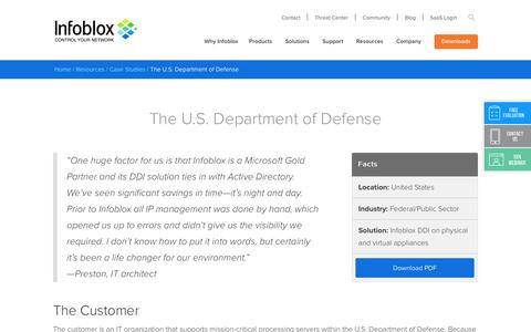 Screenshot of Case Studies Page infoblox.com - The U.S. Department of Defense - Infoblox - captured Sept. 25, 2017