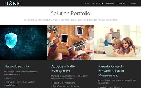 Screenshot of Products Page lionic.com - Solutions - Lionic Corp - captured Aug. 18, 2017