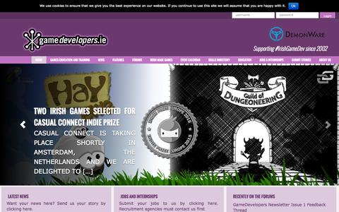Screenshot of Home Page gamedevelopers.ie - GameDevelopers.ie - Irish Games Industry  & Games Made in Ireland - captured Jan. 27, 2015