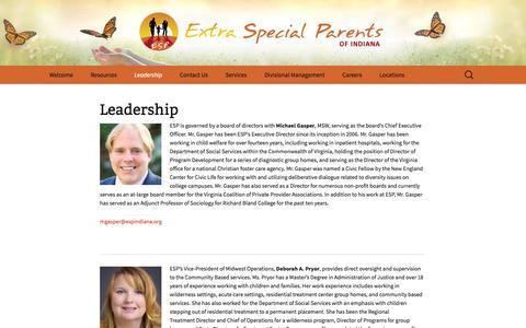 Screenshot of Team Page espindiana.org - Leadership | Extra Special Parents Indiana - captured Feb. 2, 2016