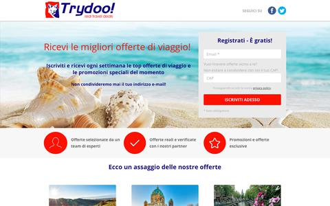 Screenshot of Signup Page trydoo.com - Ricevi le migliori offerte di viaggio! - Trydoo - captured Oct. 20, 2018