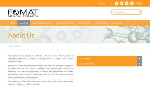 Screenshot of About Page fomatmedical.com - FOMAT Medical Research - Diversity in Clinical Trials - captured Oct. 10, 2018