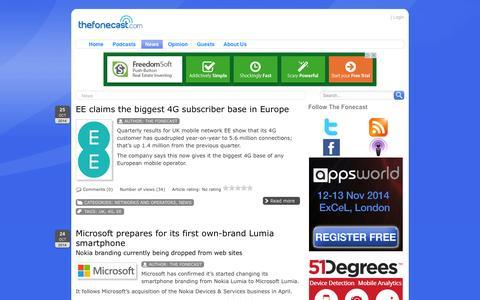 Screenshot of Press Page thefonecast.com - TheFonecast.com - mobile telecoms industry news - captured Oct. 26, 2014