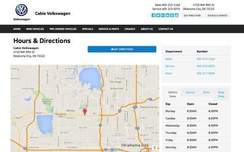 Screenshot of Hours Page cablevolkswagen.com - Cable Volkswagen Hours & Directions - Oklahoma City OK area Volkswagen dealer serving Oklahoma City OK - New and Used Volkswagen dealership serving Moore Edmond Norman OK - captured July 10, 2016