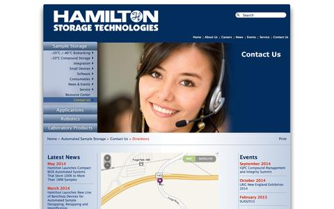 Screenshot of Maps & Directions Page hamilton-storage.com - Directions - captured Oct. 1, 2014