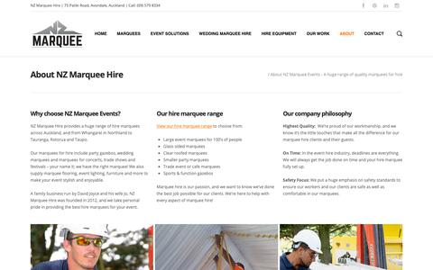Screenshot of About Page marqueehire.net.nz - About NZ Marquee Events - A huge range of quality marquees for hire - captured Oct. 18, 2018