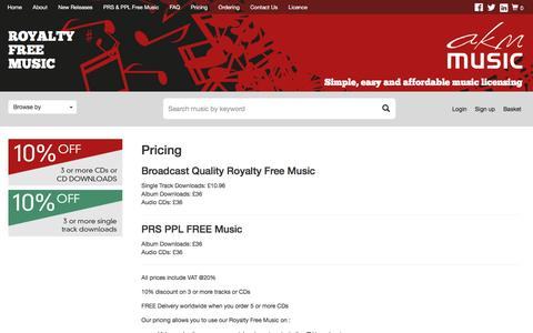 Screenshot of Pricing Page akmmusic.co.uk - Pricing | Broadcast Quality Royalty Free Music - captured July 23, 2016