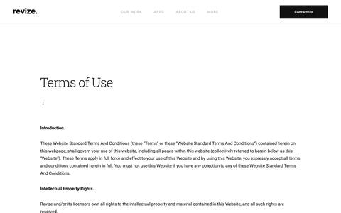 Screenshot of Terms Page revize.com - Revize The Government Website Experts - captured June 22, 2018