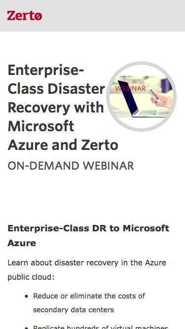 Enterprise-Class DR to Microsoft Azure | Zerto