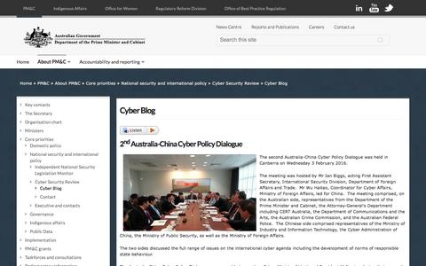 Screenshot of Blog dpmc.gov.au - Cyber Blog | Department of the Prime Minister and Cabinet - captured Feb. 9, 2016