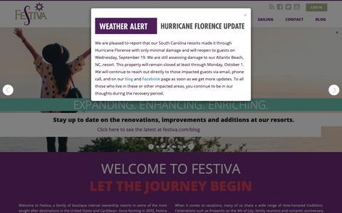 Screenshot of Home Page festiva.com - Festiva |  Hotels & Resorts | Vacation Ownership - captured Sept. 27, 2018