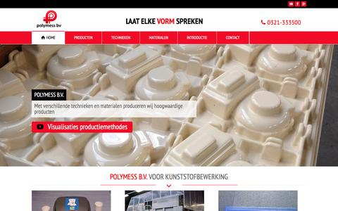 Screenshot of Home Page polymess.nl - Polymess B.V. - Kunststofbewerking - captured Jan. 29, 2016