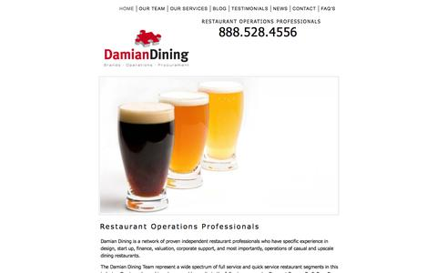 Screenshot of Home Page damiandining.com - 888.528.4556 Restaurant Operations Professionals - captured Sept. 30, 2014