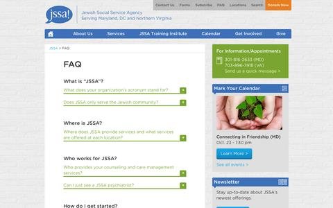 Screenshot of FAQ Page jssa.org - Frequently Asked Questions (FAQs) About JSSA | Jewish Social Service Agency - captured Oct. 6, 2014