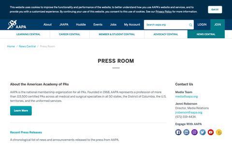Screenshot of Press Page aapa.org - AAPA Press Information - AAPA - captured May 28, 2019