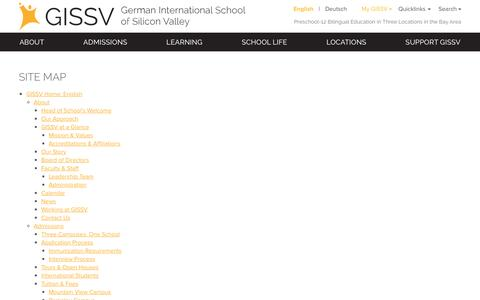 Screenshot of Site Map Page gissv.org - Site Map - German International School of Silicon Valley - captured Nov. 5, 2016