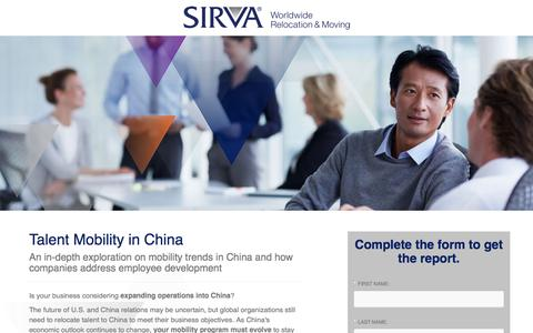 Screenshot of Landing Page sirva.com - SIRVA | Talent Mobility in China - captured Sept. 19, 2018