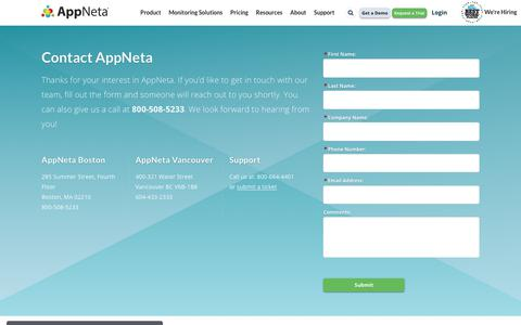 Screenshot of Contact Page appneta.com - Contact Information | Appneta Application Performance Management - captured Oct. 30, 2019