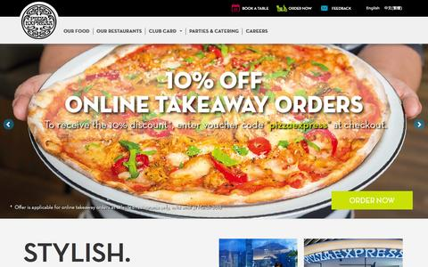 Screenshot of Home Page pizzaexpress.com.hk - Pizza Express Hong Kong, Pizza delivery or Book a Table - captured Jan. 29, 2016