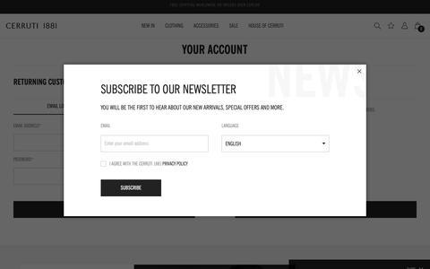 Screenshot of Login Page cerruti.com - Your Account  - Cerruti 1881 - captured Nov. 10, 2018