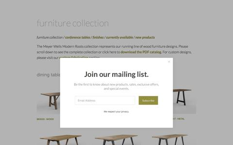 Screenshot of Products Page meyerwells.com - furniture collection — Meyer Wells | Reclaimed Wood Furniture - captured Sept. 20, 2018