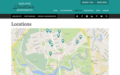 Screenshot of Locations Page adelaidedresscircle.com.au - Adelaide Accommodation Locations |  			Adelaide DressCircle - captured Feb. 5, 2016