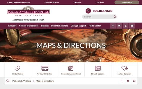 Screenshot of Maps & Directions Page pvhmc.org - Maps & Directions   Healthcare in Pomona - captured Sept. 28, 2018