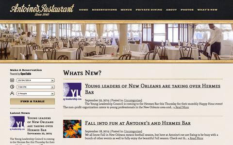 Screenshot of Press Page antoines.com - Whats New? | Antoine's Restaurant - captured Oct. 4, 2014