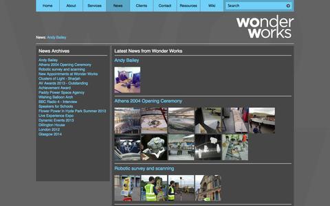 Screenshot of Press Page wonder.co.uk - News - Wonder Works - captured Oct. 9, 2014