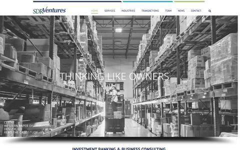 Screenshot of Home Page sdrventures.com - SDR Ventures – Denver Investment Bank to the Middle Market - captured Jan. 23, 2015